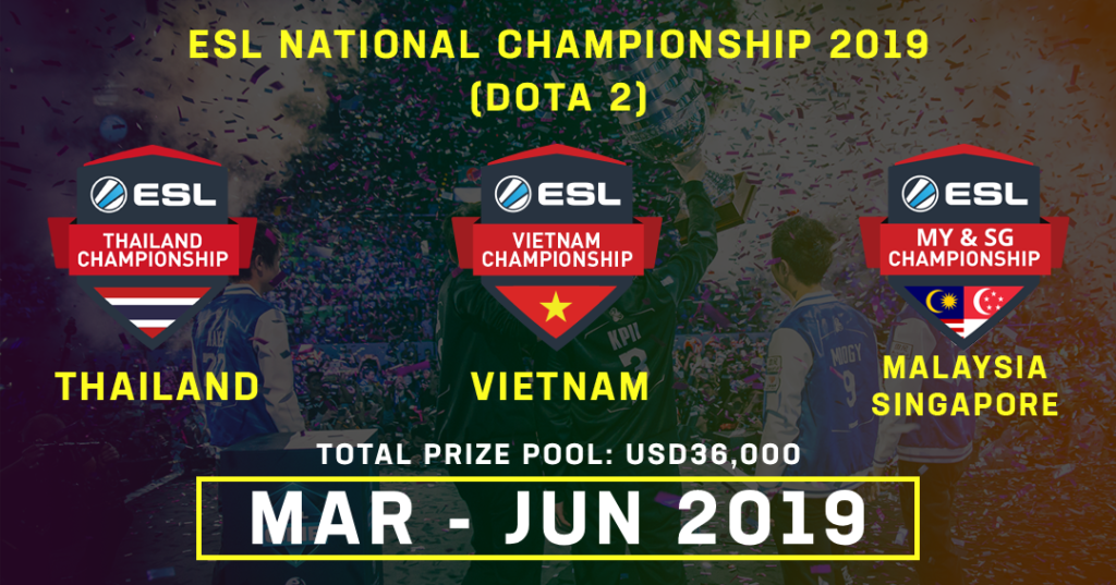 ESL Asia is expanding its National Championship series for Dota 2 to